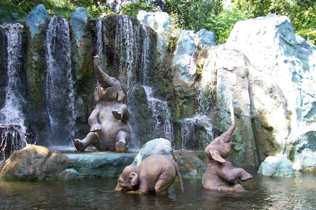 happy elephant babies under waterfall