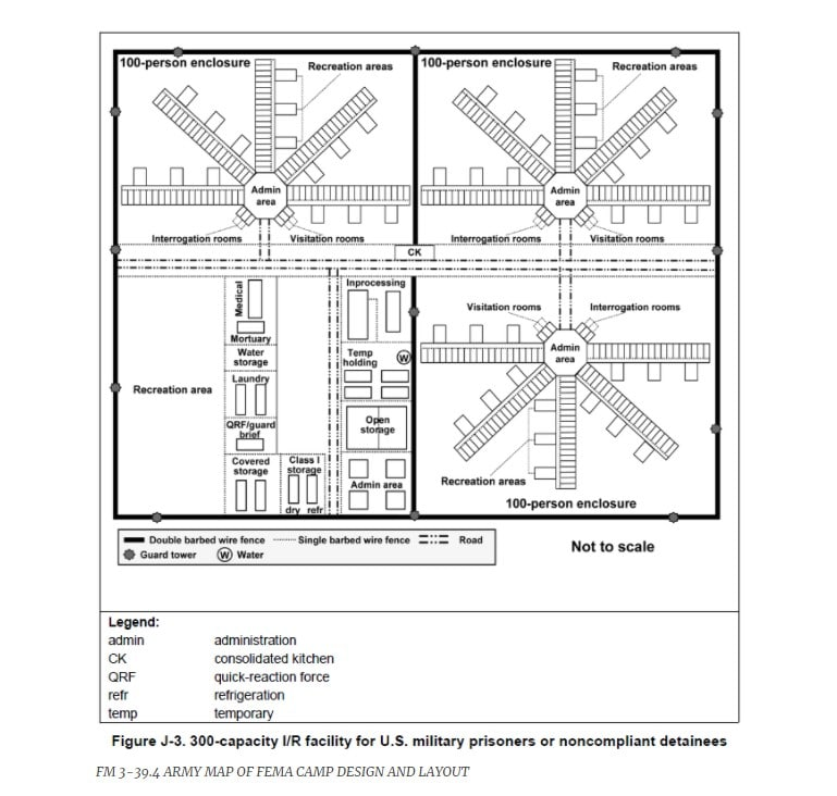 Army map of FEMA camp design and layout