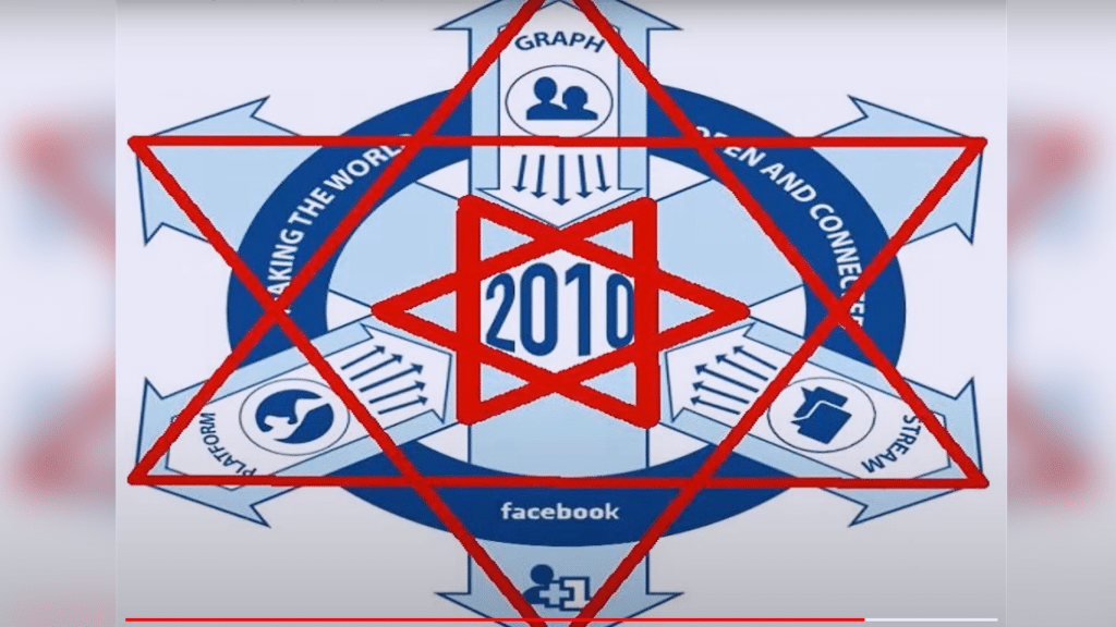 Facebook Connecting the world shows a satanic pentagram