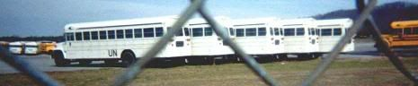 white painted schoolbusses - FEMA camp