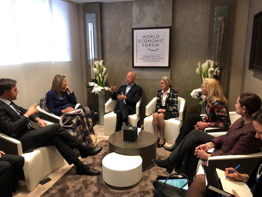 January 2019 - Rutte and Maxima visit Klaus Schwab, the big boss of WEF