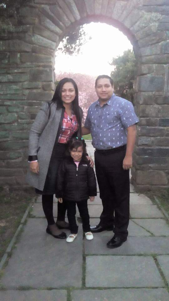 Angelica Zambrano with husband and child 2018