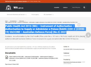 Public Health Act 2016 – Authorisation to Supply or Administer a POISON [SARS-COV-2 (COVID-19) VACCINE