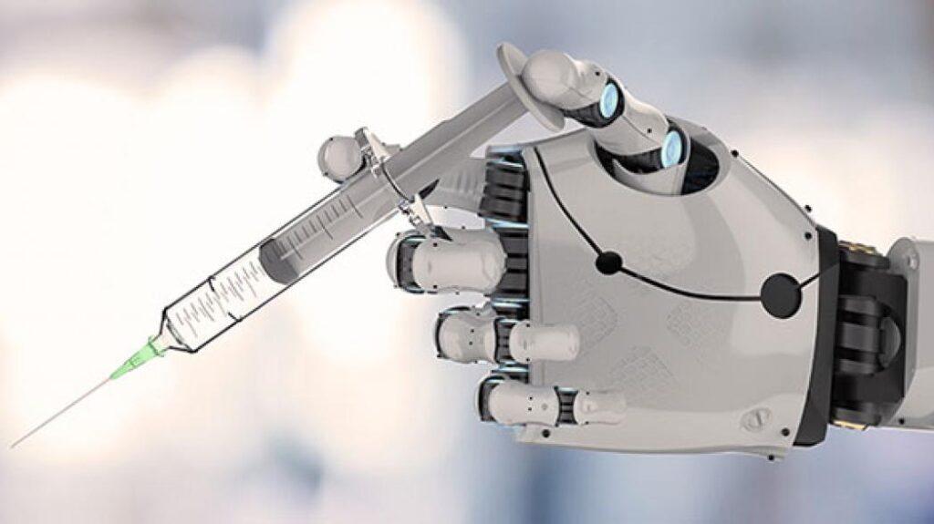 medical robot - vaccine in robotic hand