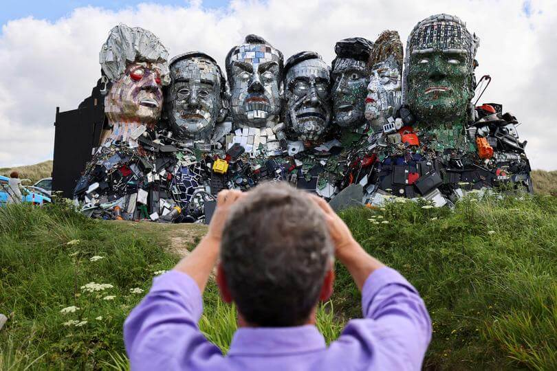 'Mount Recyclemore' is an artwork depicting the G7 leaders looking towards Carbis Bay in Cornwall - G7-summit