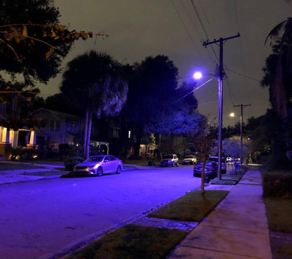 new blue black purple street lights popping up