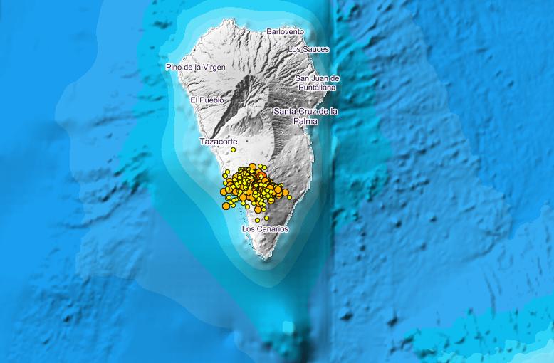 Locations of recent quakes under La Cumbre Vieja volcano, La Palma island