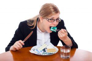 Antibiotics partly cause asthma, allergies, eczema, obesity, diabetes - woman eating antibiotics